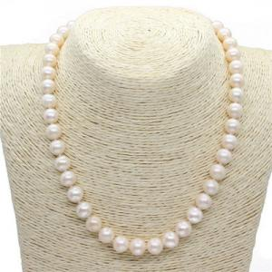China White Freshwater Pearl Jewelry Classic Strand Cultured Pearl Necklace For Mother on sale