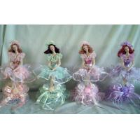 """Victorian Porcelain Doll Music Box For Children / 10"""" Green Girl"""