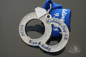 Wedding Day 5K Running Metal Medal With Soft Enamel And