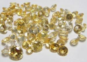 China Round Natural Loose Gemstones Golden Yellow Sapphire AAA 0.8MM-2.0MM on sale