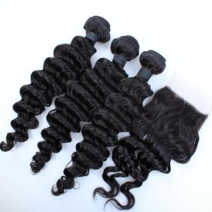 China 7A Top Quality Virgin Brazilian Human Hair Bundles With Cheap Free Parting Lace Closure on sale