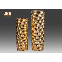 China Raspberry Design Cylinder Fiberglass Flower Pots Gold Leaf Finish Two Sizes on sale