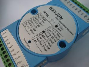 China WAYJUN 3000VDC isolation 8 channels 4-20mA/0-5V to RS485 analog I/O module blue AD Converters 24Bits DIN35 supplier