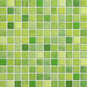 Green Mix Glazed Ceramic Mosaic Tiles 315x294 mm For Kitchen Wall