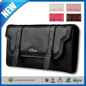 China PU Leather ID Credit Card Galaxy S6 Cover With Slider Style Black on sale