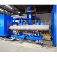 China Floor Mounted Round Steel Pipe Shot Blasting Machine , Pipe Blast Cleaning Machine on sale
