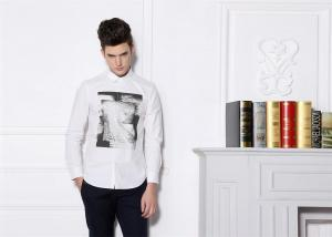 China Digital Printed Photo Mens Casual Long Sleeve Shirts 100% Cotton Anti - Wrinkle on sale