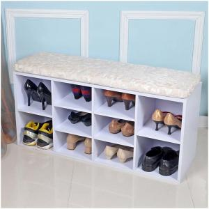 China Melamine MDF Wooden Grid 100cm Width Entryway Shoe Bench on sale