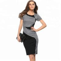 20702 Simple And Stylish Plaid Slim Office Lady Wholesale Dress