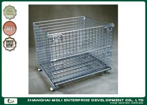 China Rolling Stainless Steel Wire Storage Containers For Warehouse OEM / ODM on sale