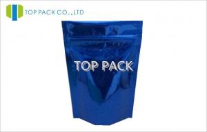 China Full Shining Blue Stand Up Zipper Pouch Bags Plastic Gas Barrier , PET / VMPET / PE on sale