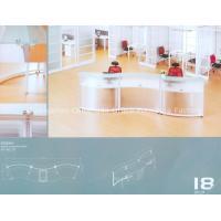 White Tempered glass Office Reception Desk CD-5513 with TT aluminum legs
