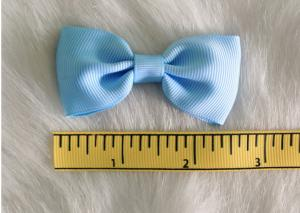 China Blue Fabric Polyester Grosgrain hair clip bow for girls headwear accessories on sale