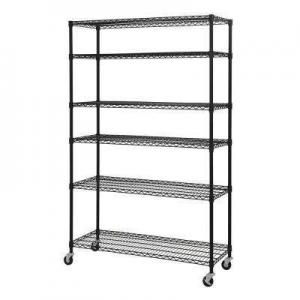 China 24 Deep Modular Wire Shelving Rack With Wheels , Chrome Wire Storage Shelves on sale