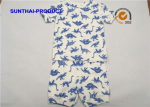 China Dinosaur AOP Children's Clothing Sets Crew Neck Top And Rib Short For Boys on sale
