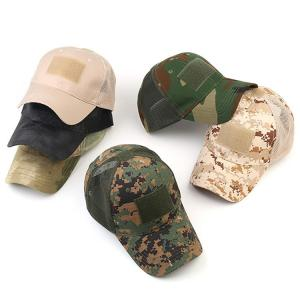 China Tactical Embroidery Patch Trucker Cap Operator with USA Flag Camouflage Hoop Loop Closure Mesh Baseball Cap on sale