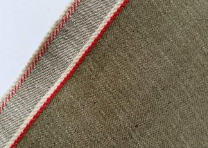 China Khaki Unique Vintage Striped Denim Fabric By The Yard 11 Ounce W10450 - 38 on sale