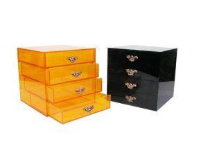 China Black / Yellow Acrylic Storage Boxes Jewery Organizer With Four Drawers on sale