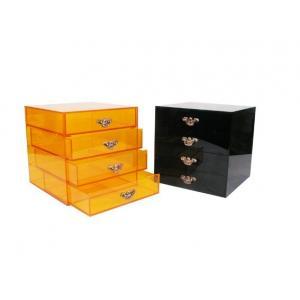China Black / Yellow Acrylic Storage Boxes Jewery Organizer With Four Drawers on sale