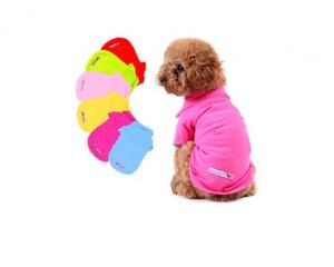 China Printed Cotton Plain Dog Polo T-Shirts Costume Summer PET Clothing Solid Candy Colors on sale