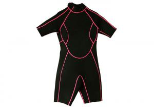 Quality 3mm Kids Half Body Wetsuit , Black Custom Shorty Wetsuits For Snorkeling for sale