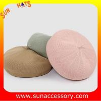 L18001 New design hot sale summer Knitted beret hats for ladies ,Fashion Summer beret caps for girls OEM and ODM cap