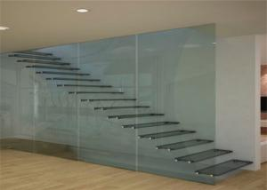 Quality Prima Building Floating Steps Staircase Laminated Glass Steps Floating Straight Stair for sale