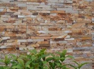China Piedra amarilla de oro de la cultura de la pizarra, chapa de piedra fina de la chimenea, piedra apilada al aire libre, el panel de piedra interior, Ledgestone on sale
