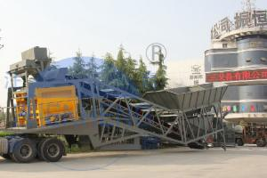 China 30kw * 2 Mobile Concrete Batching Plant 75m3 / H Capacity 12 Months Warranty on sale