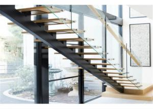 China High Quality Indoor Mono Stringer Straight Wood Tread Staircase on sale