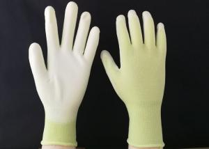 China 13 Gauge Polyurethane Coated Gloves Green Nylon Seamless Reusable Design on sale