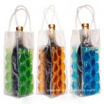 Reusable 750ML PVC Wine Chiller Bag PVC Wine Cooler Bag With FDA Grade Chilling Gel and Tube Handles
