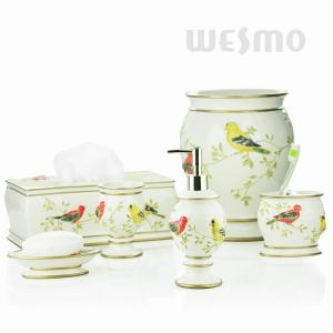 China Vivid Embossing Of Standing Birds On Branches Polyresin Bathroom Set (WBP0810A) on sale