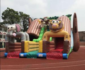 China Giant Outdoor Inflatable Forest Animal Dry Slide Huge Inflatable Monkey Elephant Dry Slide For Commercial Sale on sale