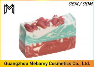 China Pure Natural Organic Handmade Soap , Red Rose Gessential Oil Bar Soap Moisturizing on sale