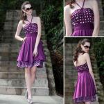 Короткая -линия платья стиля вечера края шнурка Хальтер зрелые/Бридесмайдс одевает -82677
