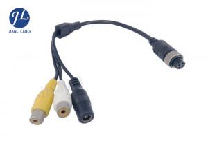 China PVC 12-24V 4 Pin To RCA Video Power Cable For Car Surveillance Camera System on sale