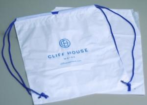 China Biodegradable drawstring laundry poly bag with printing,Logo Printed Poly Drawstring Hotel/Travel Laundry Plastic bag on sale
