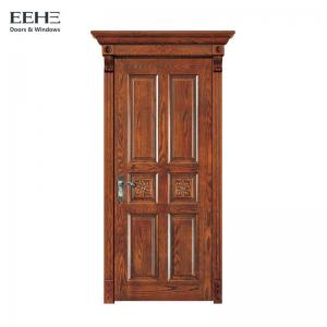 China Eco Varnish Solid Wood Bedroom Doors / 100% 6 Panel Wood Interior Doors on sale