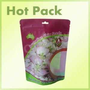 China 500g Chia Seeds Plastic Stand Up Pouches With Window Laminated Foil on sale