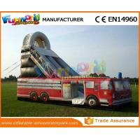 Car Shaped Outdoor Inflatable Water Slides Fire Truck Air Wet Slide With Customized Design