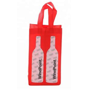 China Portable 2 Bottle Fabric Non Woven Wine Bags Folding Environmental Friendly on sale
