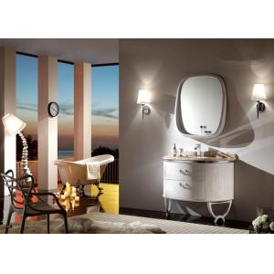 China Customized Semicircular Oak Bathroom Vanity Unit With Wooden Frame Mirror And Countertop on sale