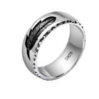 Mens Womens Simple Plain 925 Sterling Silver Feather Band Ring Finger Jewelry(XH051739W)
