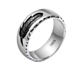 China Mens Womens Simple Plain 925 Sterling Silver Feather Band Ring Finger Jewelry(XH051739W) on sale