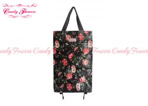 China PVC Canvas Printed Personalised Shopping Bags Vintage High Capacity Black Roses on sale
