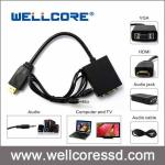 6Ft Black Laptop Adapter Converter 15-Pin VGA to HDMI Cable For HDTV PS3