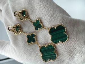 China 18K Gold Jewelry Factory VCA Magic Alhambra earrings 3 motifs malachite 18K yellow gold jewelry on sale