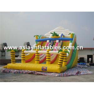 China Inflatable Triple Lanes Slide With Palm Tree For Beach Games / Water Games on sale