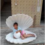 庭/square/店のモールの装飾の彫像としてサイズのガラス繊維の真珠モデルが付いている白く大きい海の貝をカスタマイズして下さい